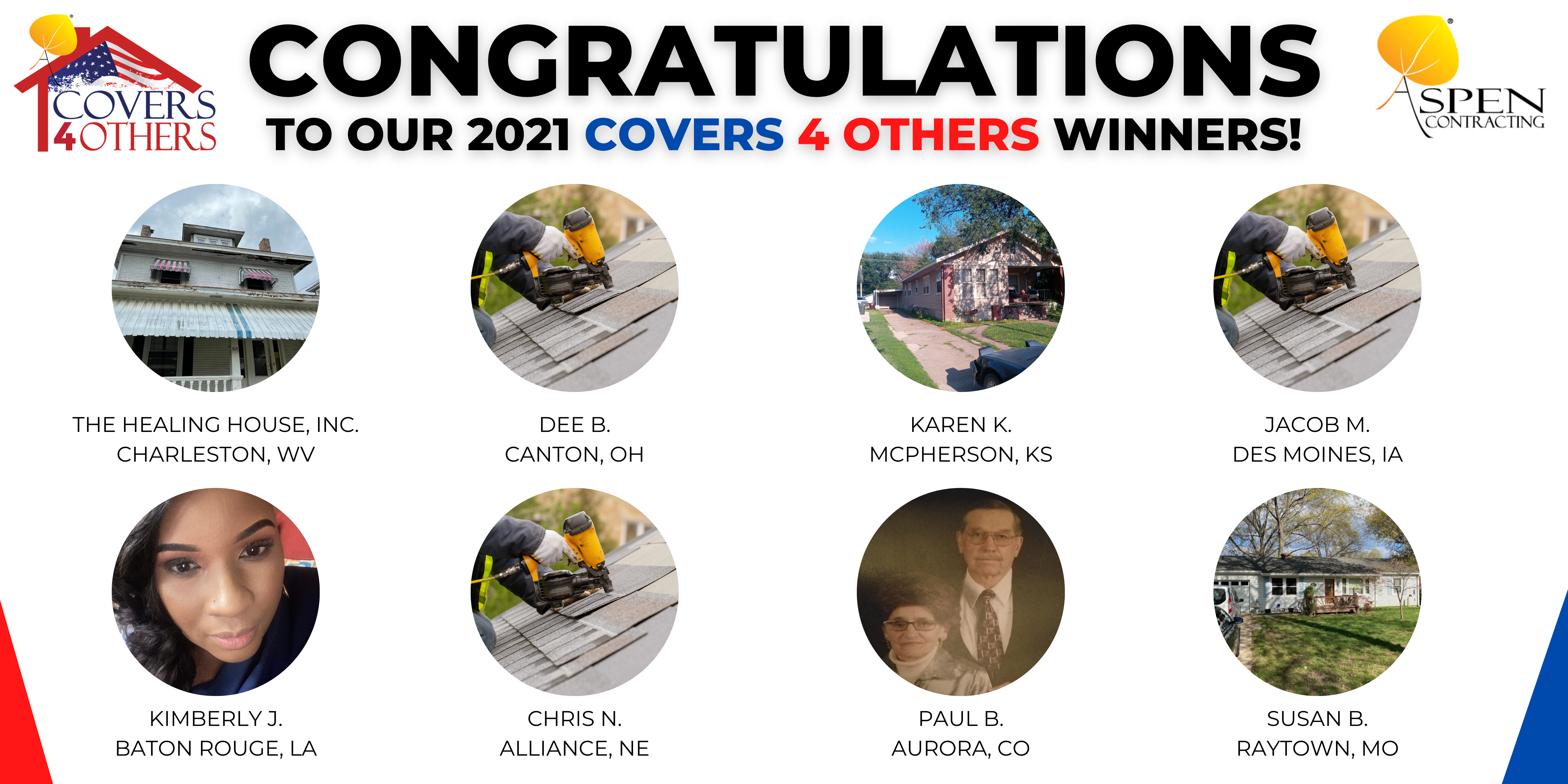 2021 Covers 4 others Free Roof Winners